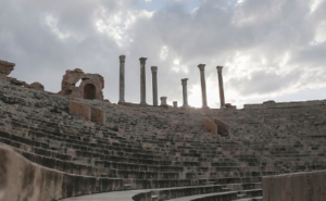 The remains of the theatre (Image Source: http://www.telegraph.co.uk/news/worldnews/africaandindianocean/libya/11475388/Leptis-Magna-war-torn-Libyas-forgotten-ancient-Roman-city.html)