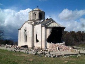 Serbian Christian Church in Kosovo destroyed in during the conflict between Kosovo and Serbia