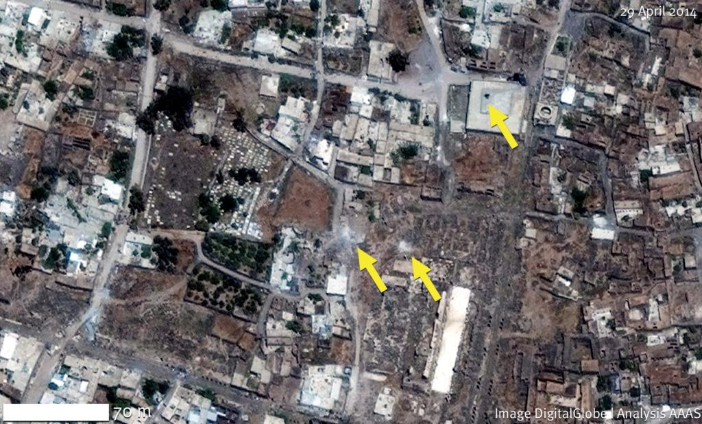 The yellow arrows show shelling that occurred in Bosra. The far right arrow shows a hole put in the Al- Omari Mosque from bombing. https://www.aaas.org/page/ancient-history-modern-destruction-assessing-current-status-syria-s-world-heritage-sites-using#Bosra