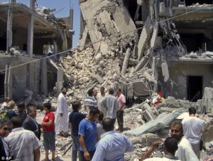 Buildings destroyed due to conflict